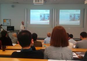David presenting his research