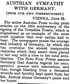 """Times Newspaper article of 29 June 1929 headlined """"Austrian Sympathy with Germany"""""""