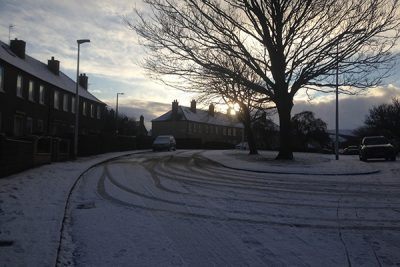 Snow dusted street