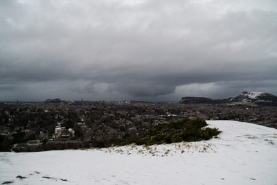View from snow-topped Blackford Hill in Edinburgh.