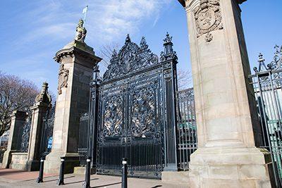 The gates of Holyrood Palace.