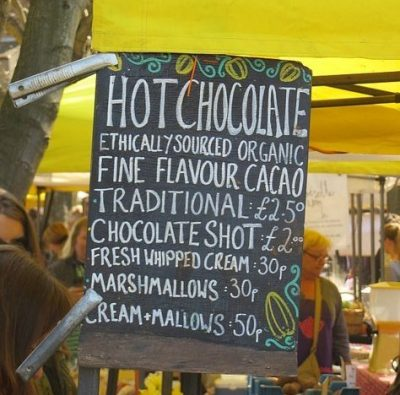 Menu board in Stockbridge Market