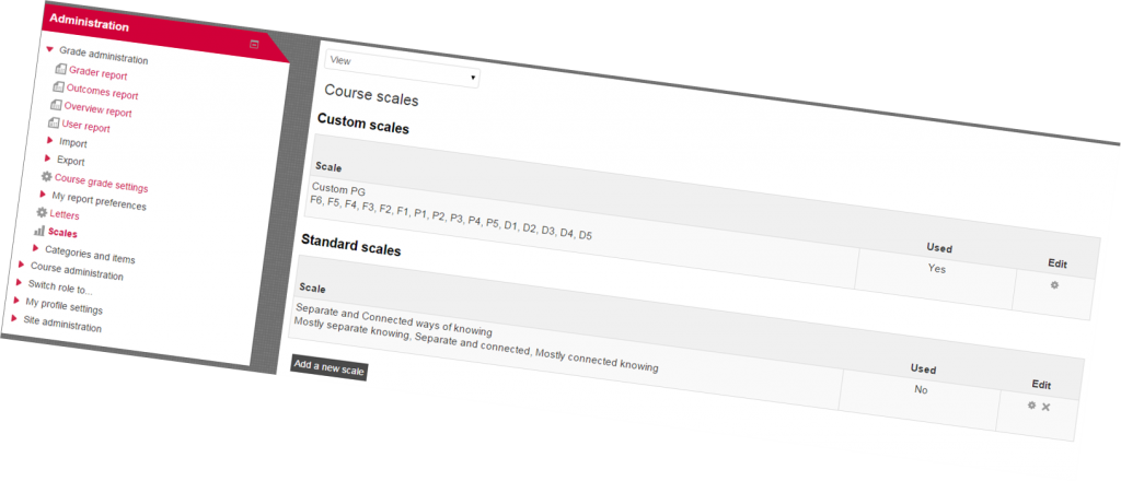 Course scales in Moodle