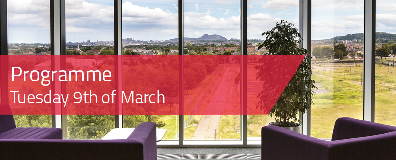 Programme: Tuesday 9th of March, plus image of view from Sighthill LRC