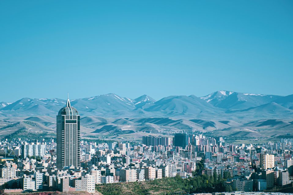 the city of Tabriz overlooking the mountains