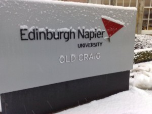 Edinburgh Napier University with Snow