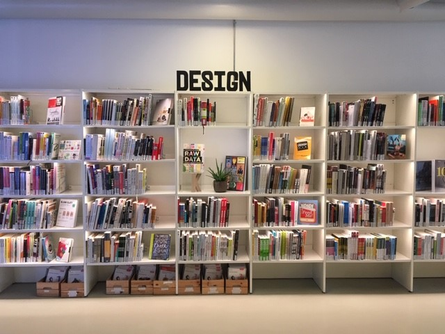 Bookshelves in the KEA library